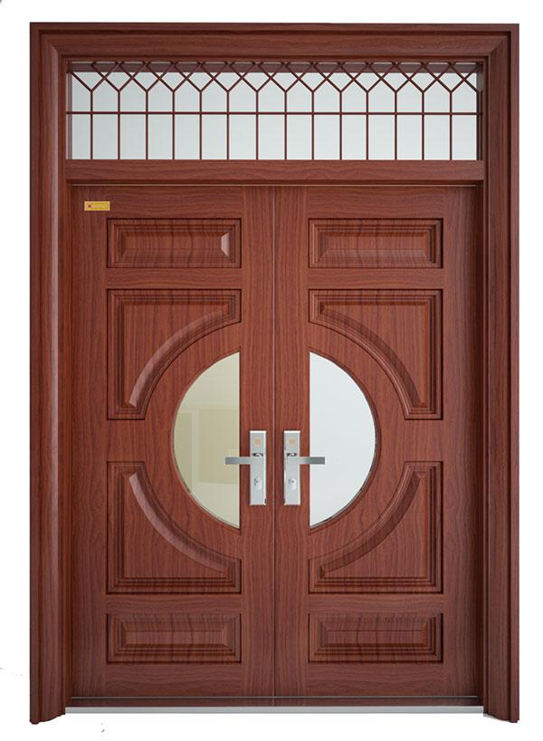 cửa thép vân gỗ cánh lệch 2h4k