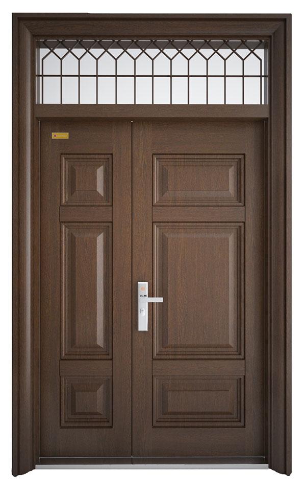 cửa thép vân gỗ cánh lệch 3h3